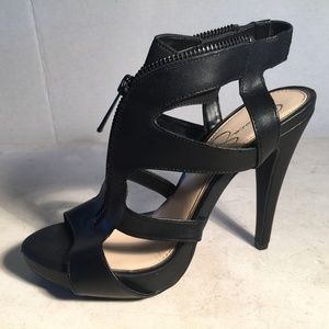 Jessica Simpson Black PU Leather Zipper Heels